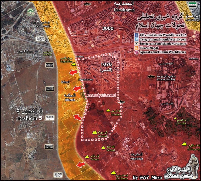 Карта: Ситуация в Алеппо 08.11.2016 наступление Асадистов на квартал 1070 и высоту Тель Мутах