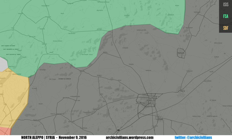 Сирийская оппозиция и FSA освободили 1600 км2 территории от ИГ и находятся в нескольких км от Аль-Баб