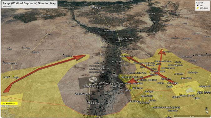 Наступление на Ракку: карта с основными направлением атак