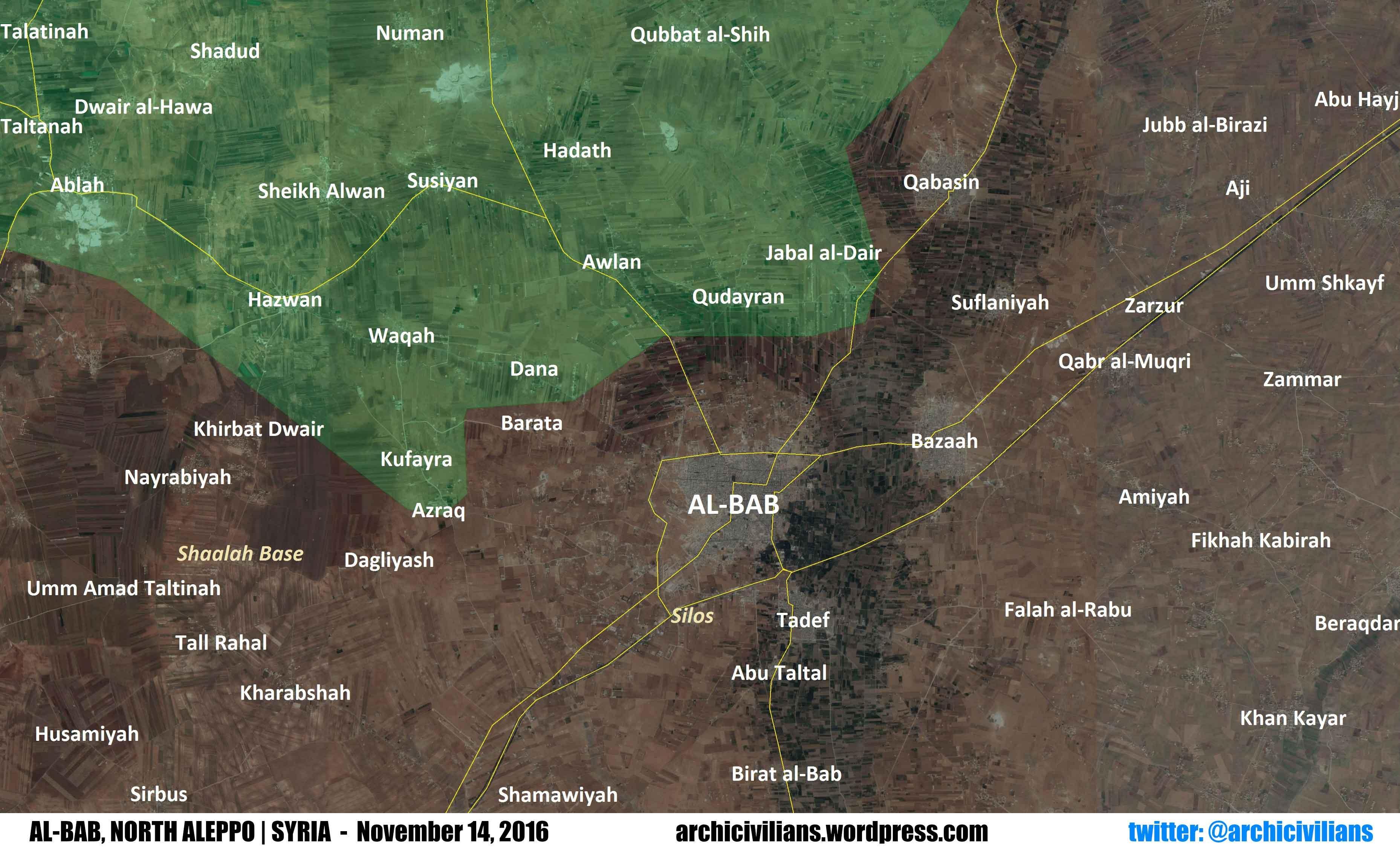 Карта: расстановка сил в районе города Аль-Баб, Северный Алеппо, Сирия