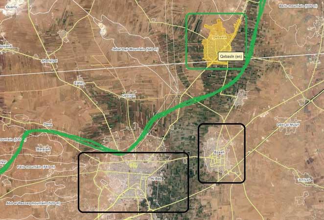 Сирийская оппозиция захватила крупный населенный пункт Qabasin вблизи города Аль-Баб, Северный Алеппо, Сирия