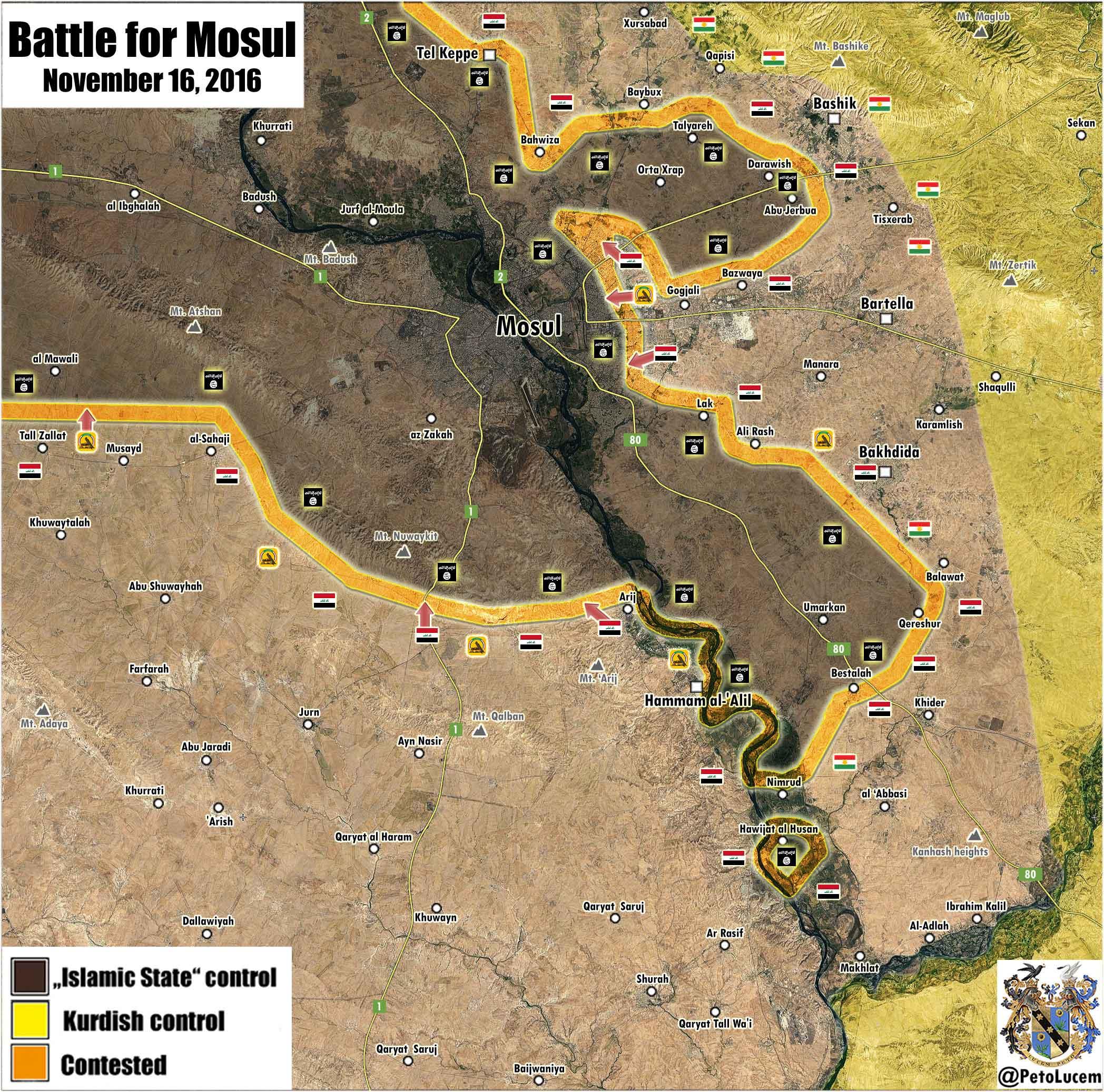 Карта боев за город Мосул, Ирак (расположение сторон на 16.11.2016)