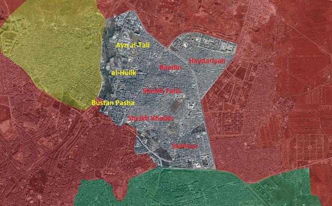 Захваченные районы Алеппо