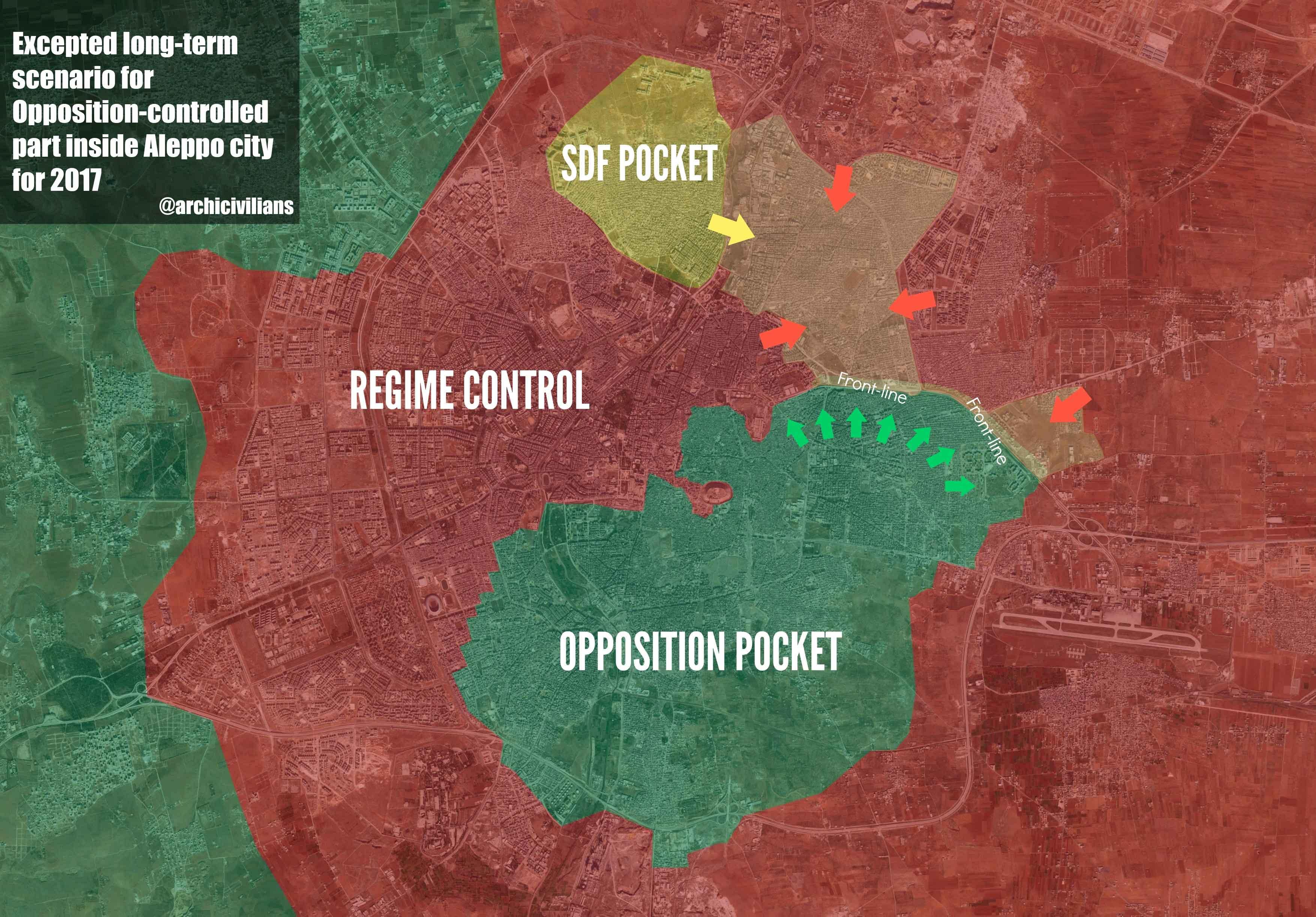Карта Алеппо 19.11.2016 с положением сил: SDF (курды), силы Асада (иракские, палестинские и ливанские боевики), сирийская оппозиция