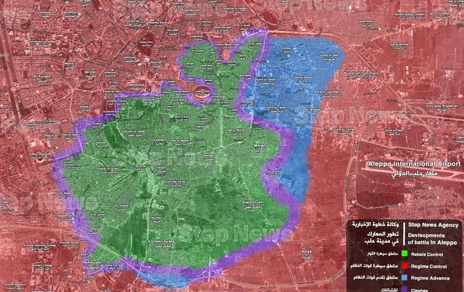 Карта города Алеппо 06.12.2016, расположение сторон, захваченные территории САА