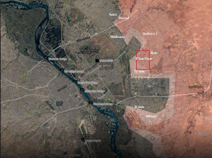 Карта расстановки сил в городе Мосул, Ирак