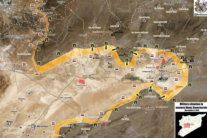 Карта боевых действий в районе города Пальмира, провинция Хомс