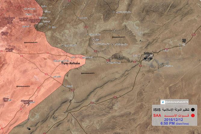 Карта, обстановка вблизи Пальмиры 12.12.2016 года, силы Асада отброшены от города на 50 км