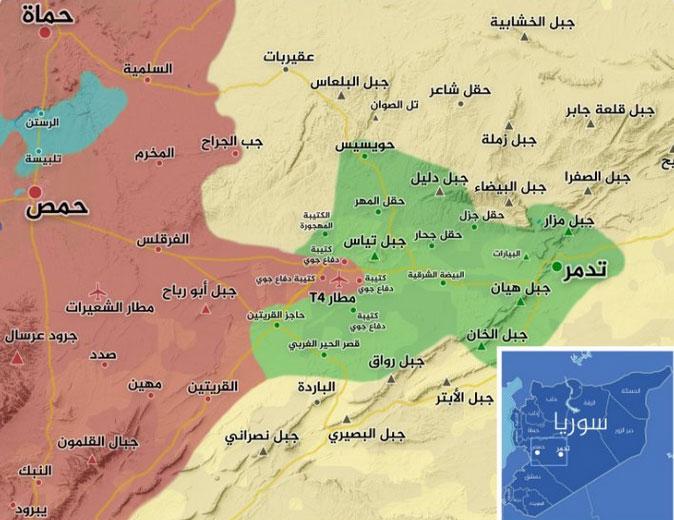 Карта боев в районе военного аэродрома Т4 (Пальмира)