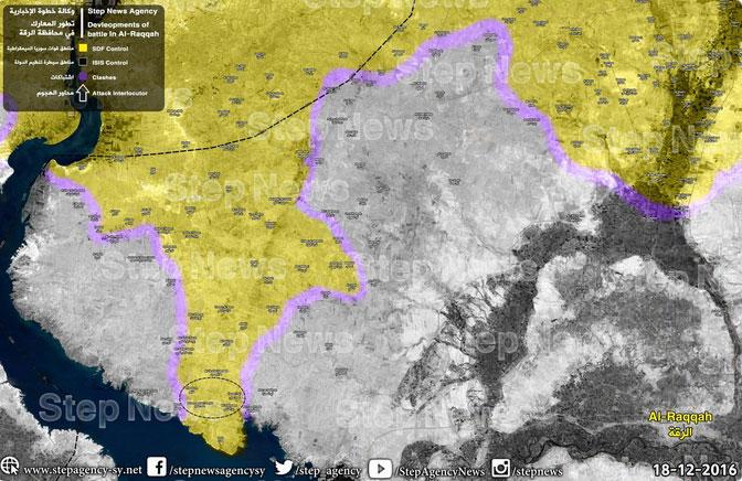 Карта наступления SDF на Ракку, Сирия