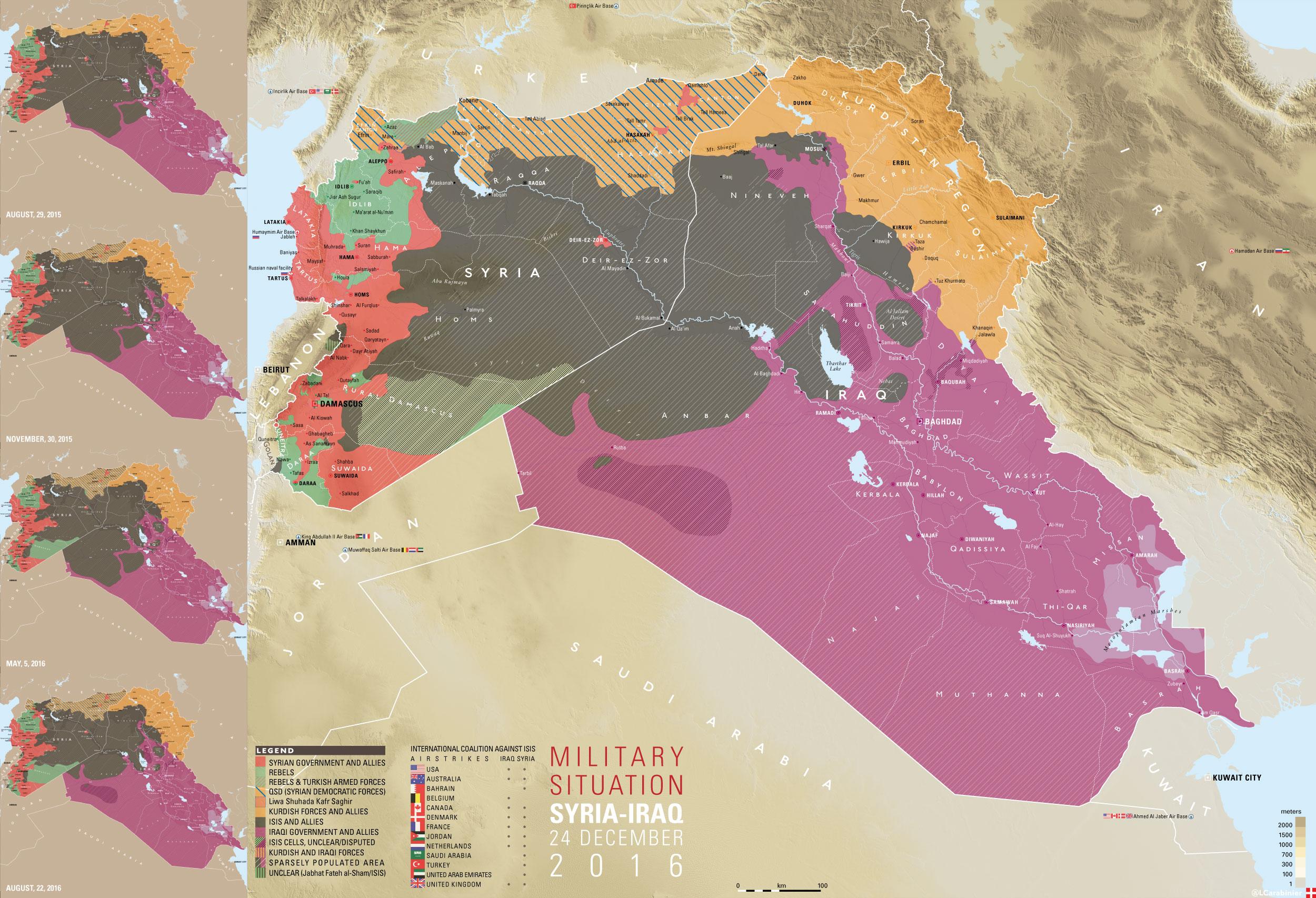 Карта расстановки сил в Сирии и Ираке по состоянию на 24.15.2016