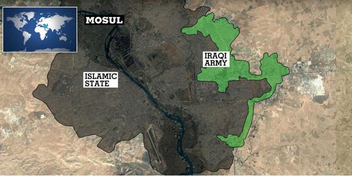 Карта Мосула, результат 70 дней операции