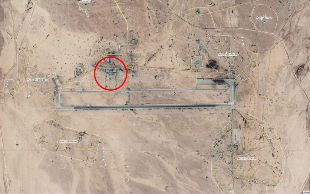 Карта аэродрома Т4, Сирия с спутника