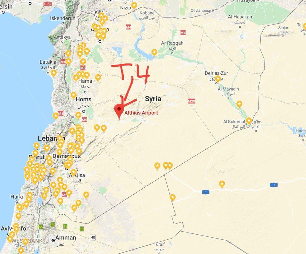 Место аэродром Т4 на картах в Сирии