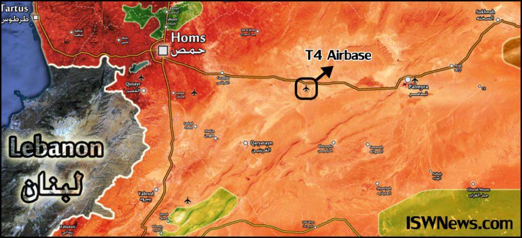 Военный аэродром Т4, на карте с расстановкой сил