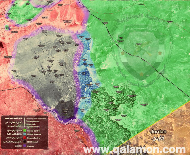 Карта боевых действий в районе Иорданской границы, Сирия