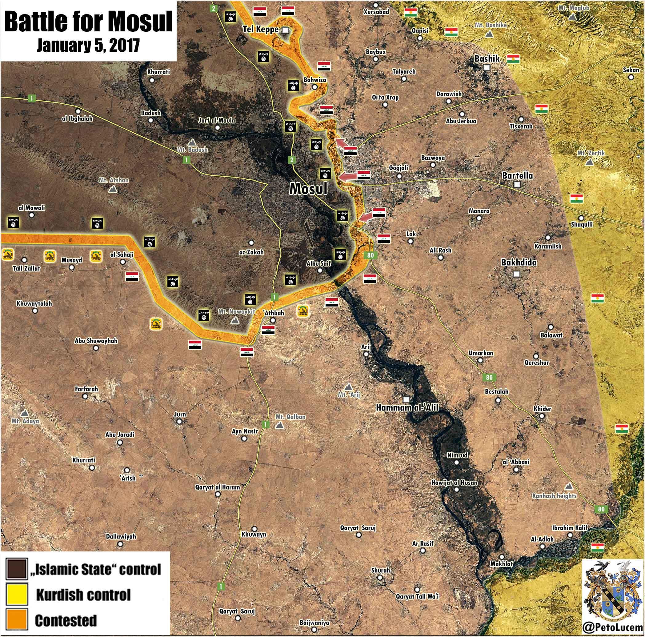 Карта Мосула, Ирак, по состоянию на 06.01.2107 года