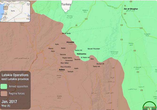 Текущая карта положения сил в Латакии, сирийская оппозиция, войска режима Асада