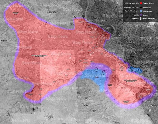 Карта военной обстановки в Дейр-аз-Зор на 15.01.2017
