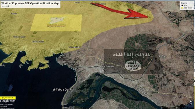 Военная обстановка в районе города Ракка и плотины аль-Табка 15.01.2016