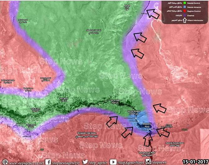 Карта военной обстановки в анклаве Wadi Barada, наступления Хезболлы и САА Асада