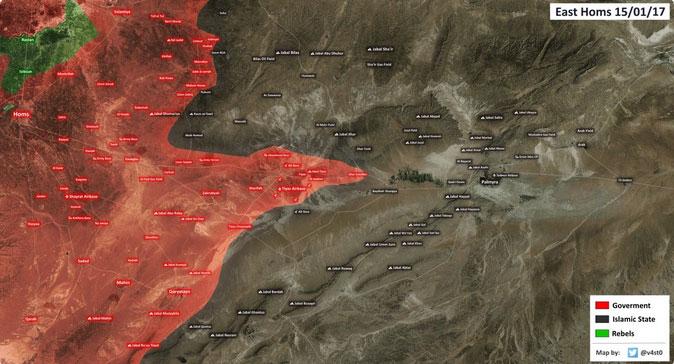 Карта военной обстановки в районе авиабазы Т4 (Пальмира) в свете наступления САА Асада