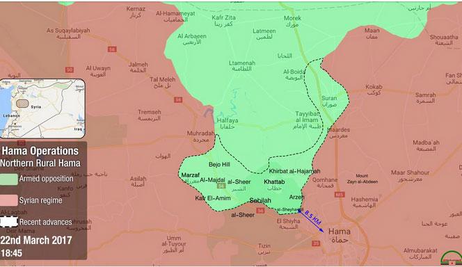 Наступления оппозиции в Хаме, карта по состоянию на 22.03.2017