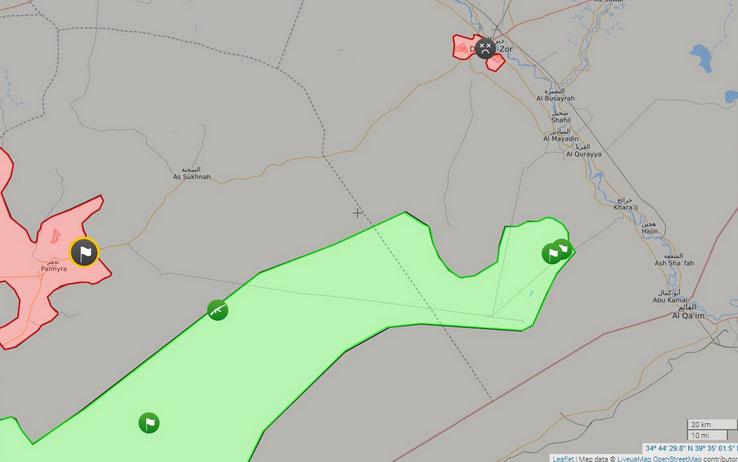 Карта: FSA в 40 км от Пальмиры и в 80 от Дейр-Аз-Зора