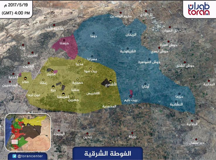 Карта расстановки групп сирийской оппозиции окруженных в Восточной Гуте, пригороде Дамаска