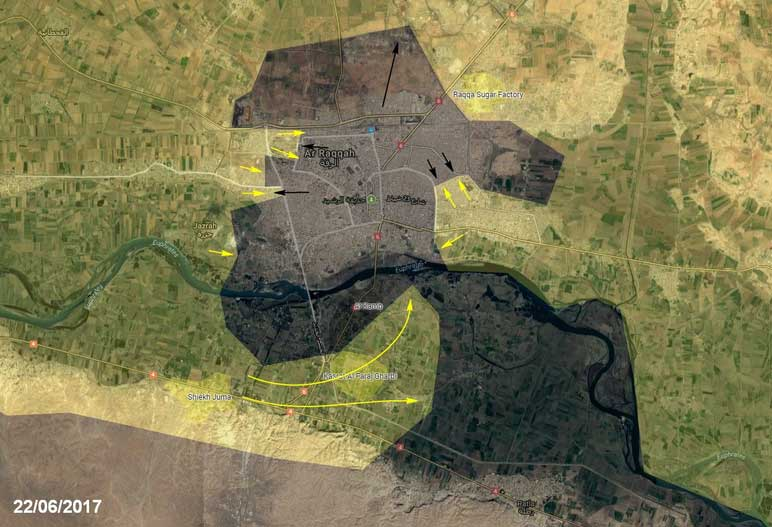Обстановка в город аль-Ракка, Сирия, расстановка сил (карта)