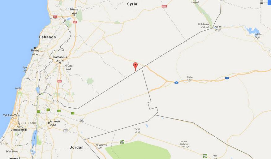 Карта Аль-Танф, военная база США в Южной Сирии