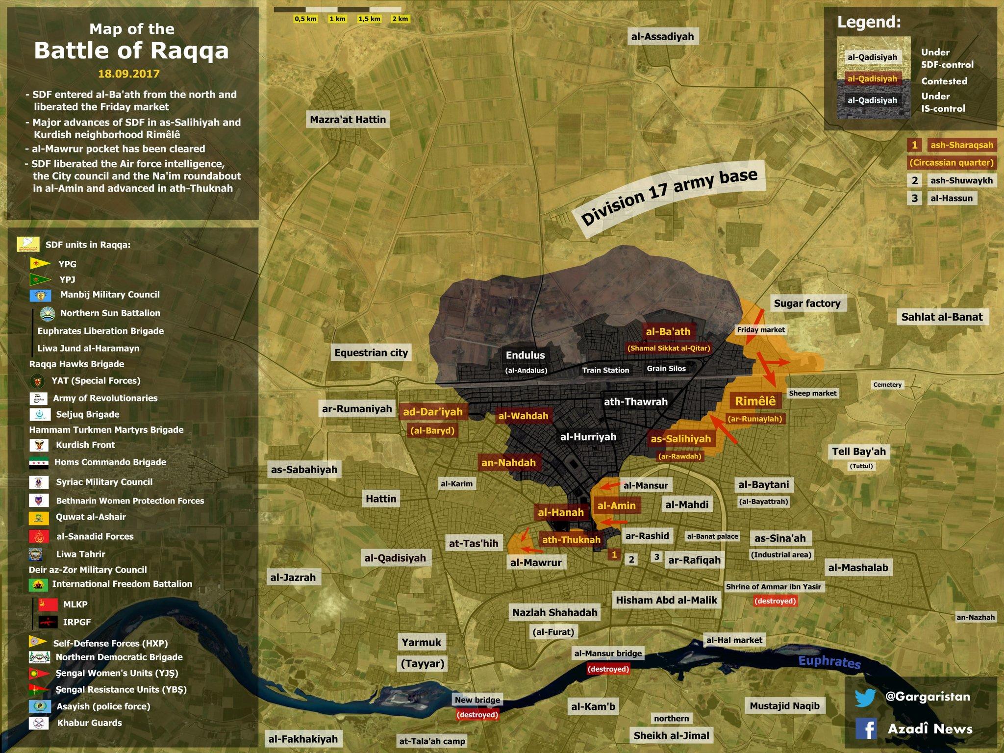 Наступление SDF на город Ракка, карта по состоянию 19.09.2017