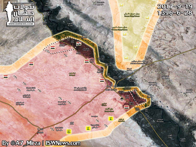 Положение сторон SDF и Асадистов, в битве за Дейр-аз-Зор - 19.09.2017