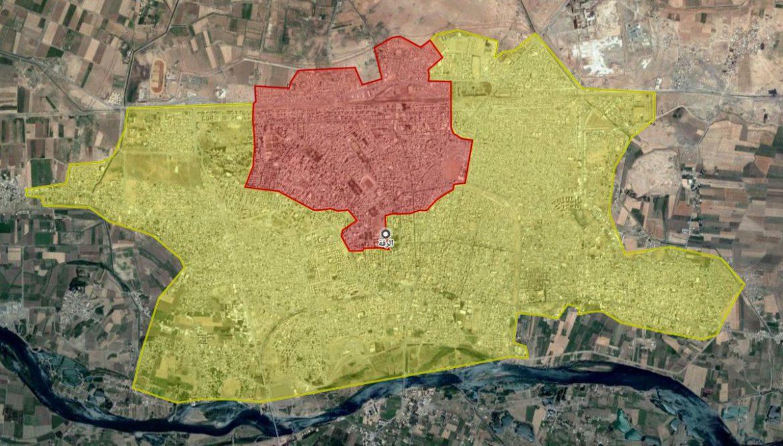 Карта наступления SDF - захвачено до 80% города Ракка.