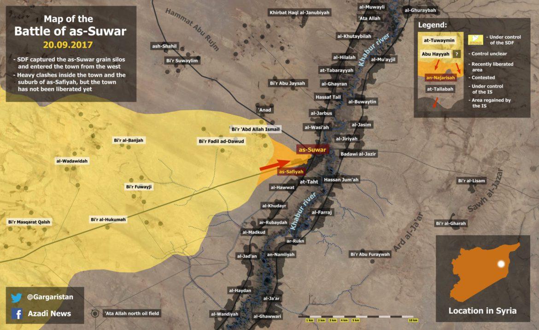 Наступления SDF в районе Дейр-аз-Зор по состоянию на 27.09.2017
