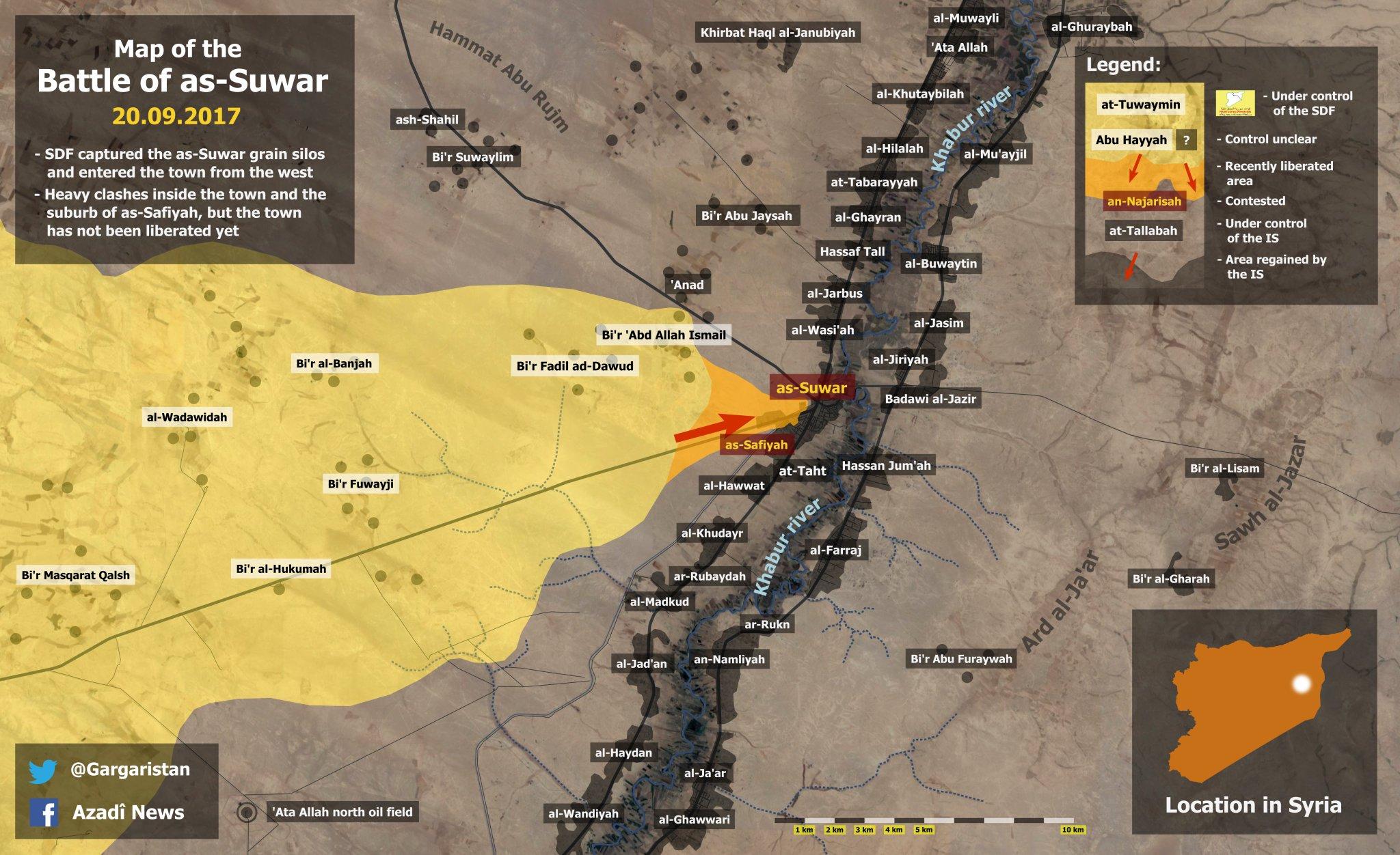 Наступления SDF в районе Дейр-аз-Зор по состоянию на 26.09.2017