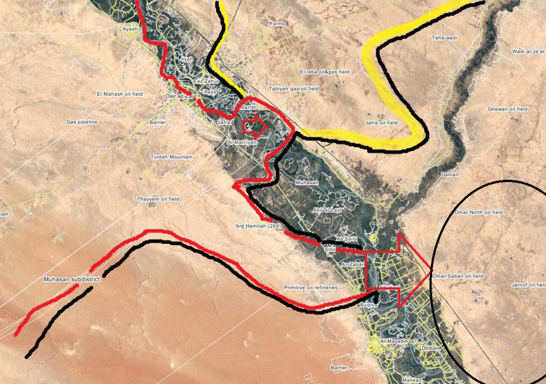 Карта, Асадисты пытаются обогнать SDF и захватить нефть в Omar