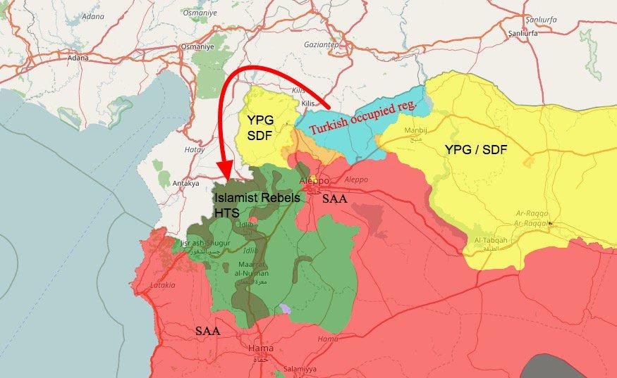 Переброска сил FSA из Мареа-Яраблус-Аль-Баб в Идлиб