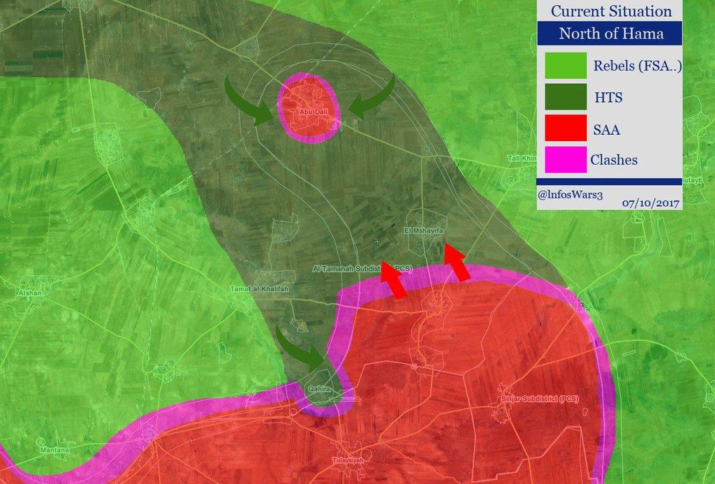 Изменения на фронте, Асадисты потеряли два поселения и в одном оказались в окружении (Хама)