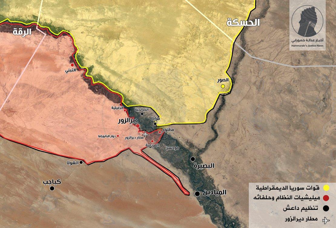 Карта военной обстановки в районе Дейр-аз-Зор: боевики, SDF, Асадисты