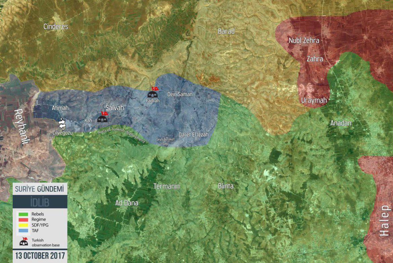 Карта расположение войск Турции на территории провинции Идлиб, Сирия