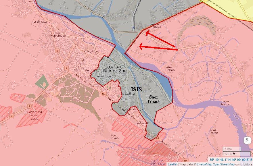 Карта военной обстановки в Дейр-аз-Зор по состоянию на 13.10.2017.