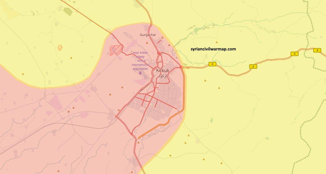 Город Киркук (Ирак) и ближайшее нефтеносное месторождение под контролем шиитской милиции Ирака
