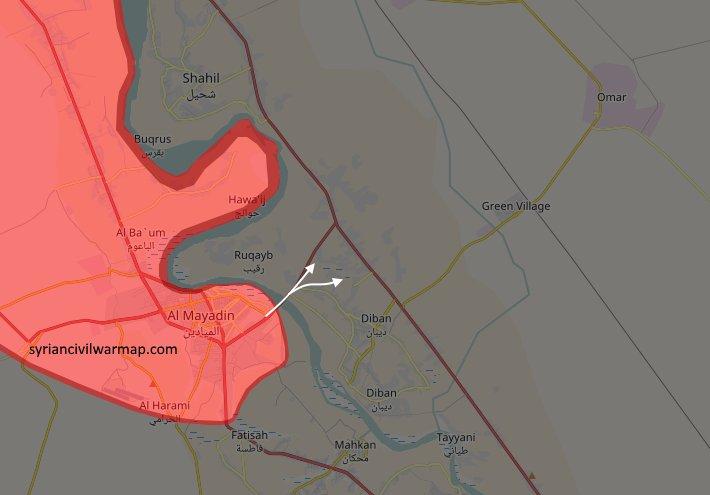 Карта переправы сил Асада на другой берег Ефрата