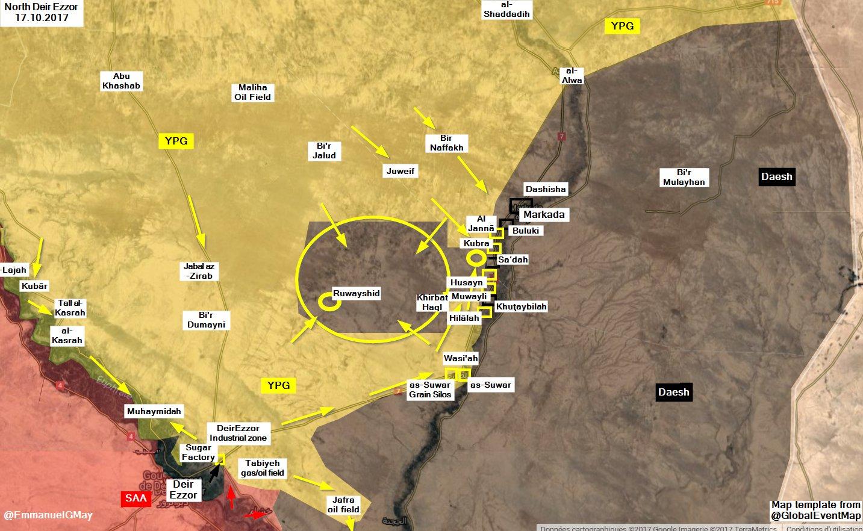 Карта расстановки сил в районе подступов к месторождению Омар со стороны наступления сил SDF