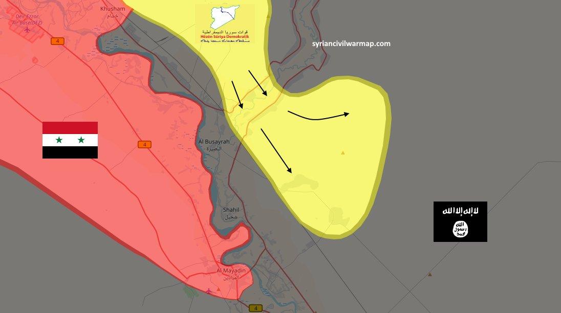 Карта, расстановки сил в районе нефтеносного месторождения Омар, провинция Дейр-аз-Зор, Сирия