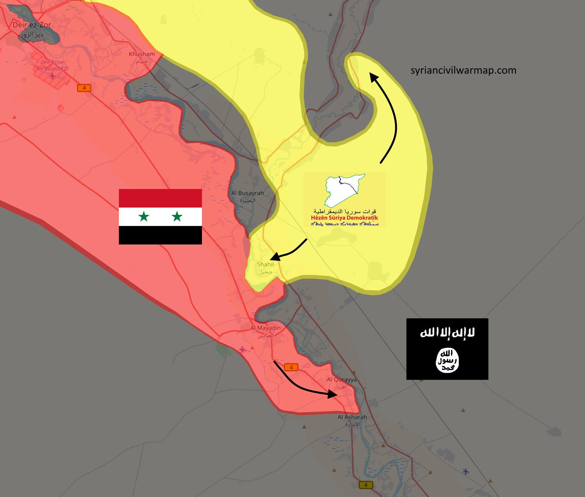 Карта, основные наступательные движения SDF и Асадистов по состоянию на 22.10.2017