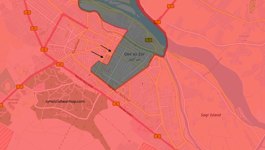 Карта с расстановкой сил в городе Дейр-аз-Зор по состоянию на 02.11.2017