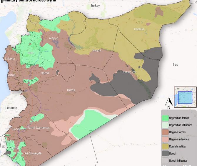 Общая карта расстановки сторон конфликта в Сирии по состоянию на 02.11.2017 год
