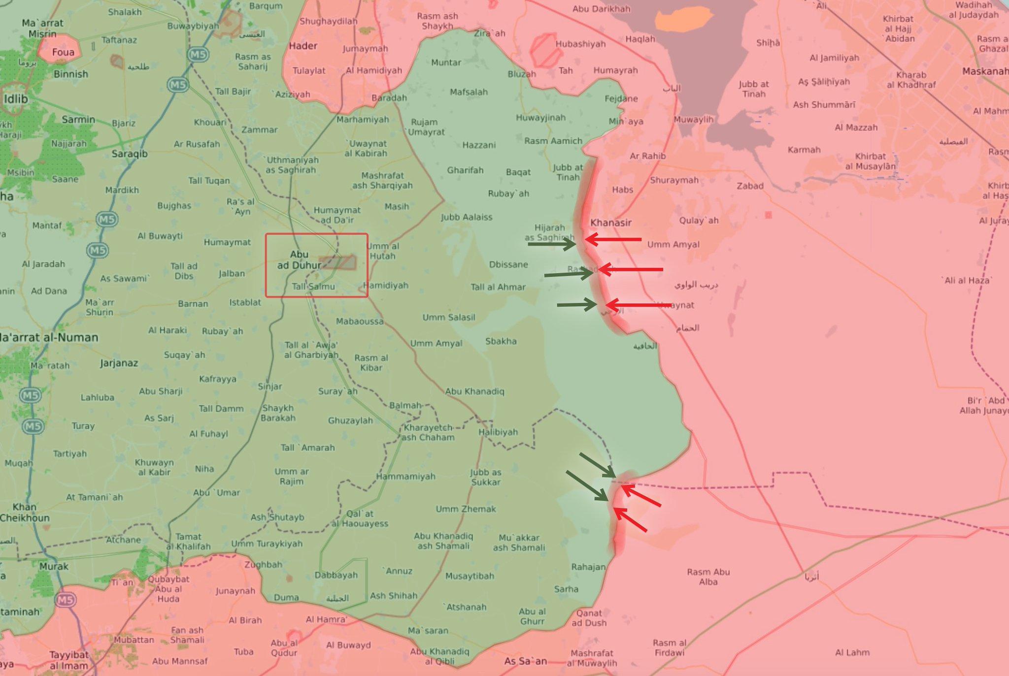 Карта, новая зона наступления сил Асада